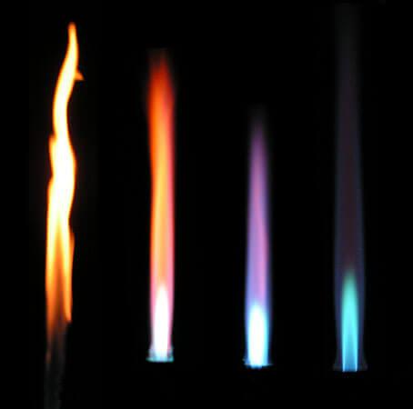 Bunsen burner flames