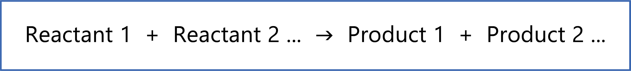 chemical reaction general formula reactants products