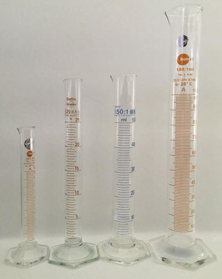 science laboratory measuring cylinders