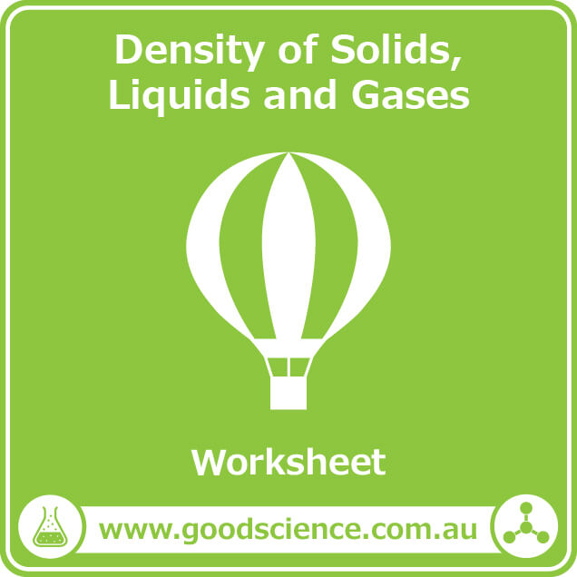 density of solids liquids and gases worksheet
