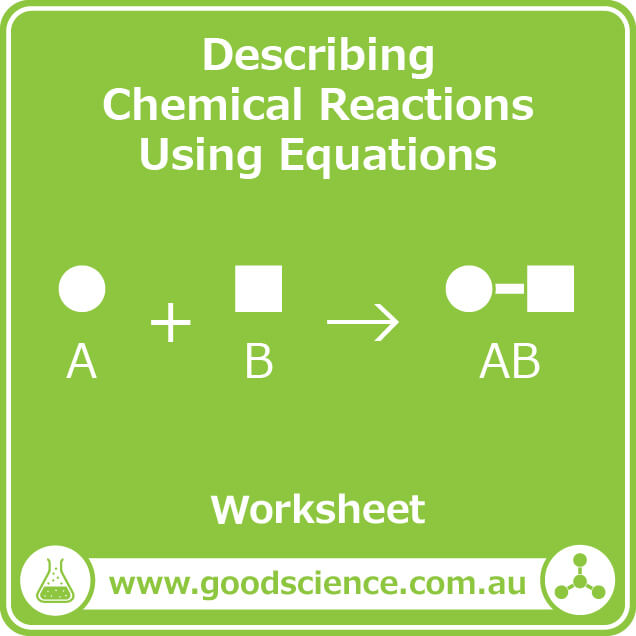describing chemical reactions using equations worksheet